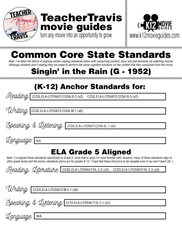 Singin' in the Rain Movie Guide   Worksheet   Questions   Google (G - 1952) CCSS