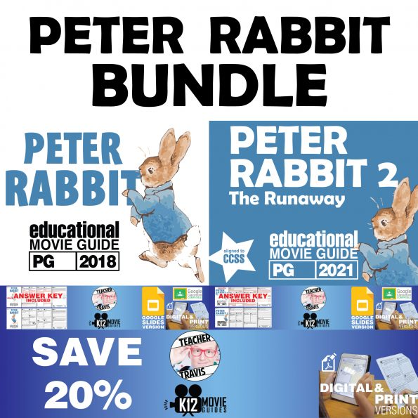 Peter Rabbit Movie Guide Bundle   Worksheet   Questions   Google Classroom   SAVE OVER 20% Cover