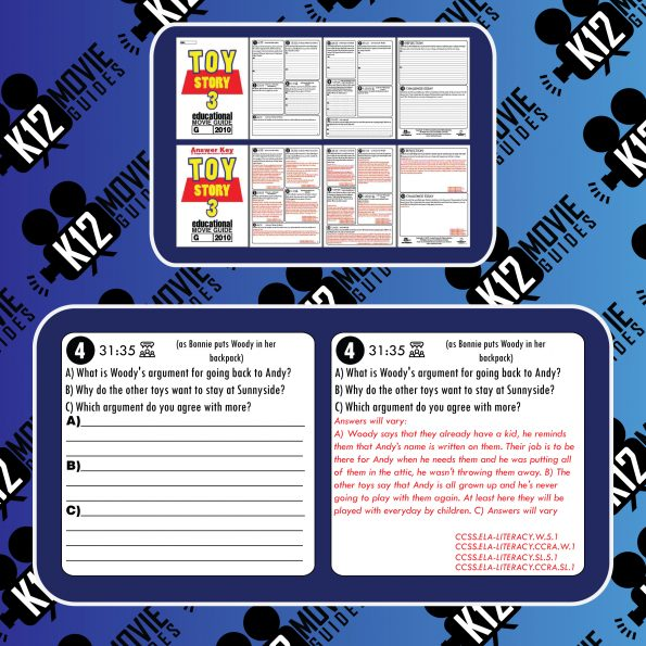 Toy Story 3 Movie Guide | Worksheet | Questions | Google Classroom (G - 2010) Sample