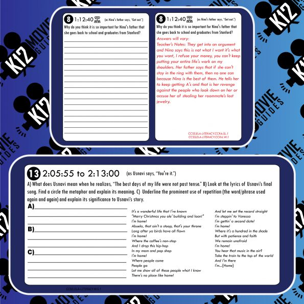 In the Heights (Musical) Movie Guide | Worksheet | Questions | Google (PG13 - 2021) Sample
