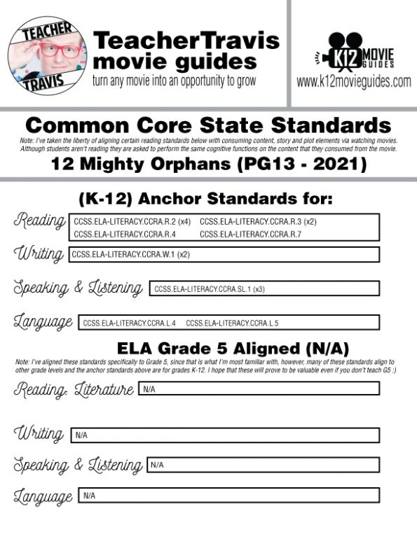 12 Mighty Orphans Movie Guide   Worksheet   Questions   Google (PG13 - 2021) CCSS