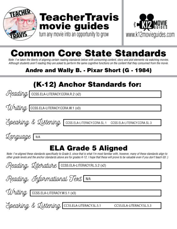 André and Wally B. Pixar Short Video Guide   Questions   Worksheet (G - 1984) CCSS