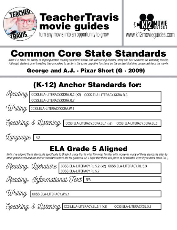 George and A.J. Pixar Short Video Guide   Questions   Worksheet   Google (2009) CCSS