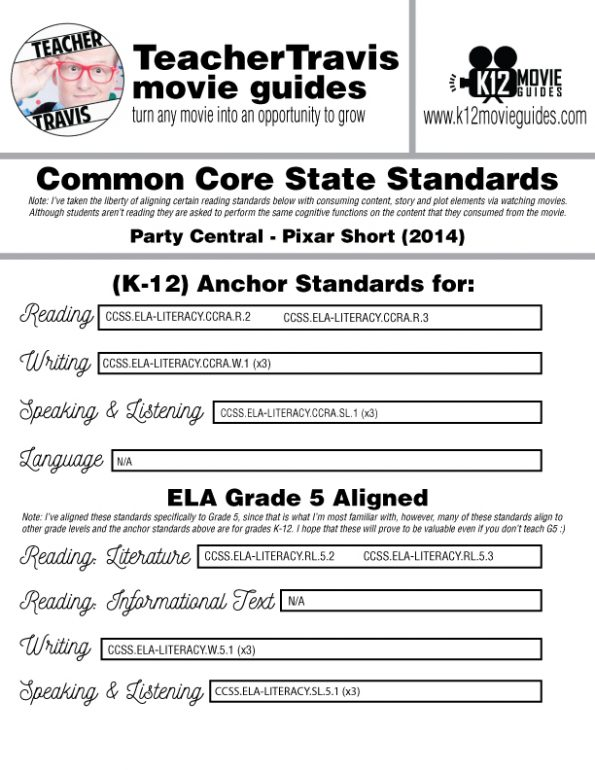 Party Central Pixar Short Video Guide | Questions | Worksheet (PG - 2014) CCSS