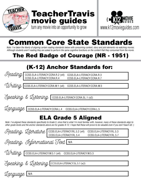 The Red Badge of Courage Movie Guide | Worksheet | Questions (NR - 1951) CCSS