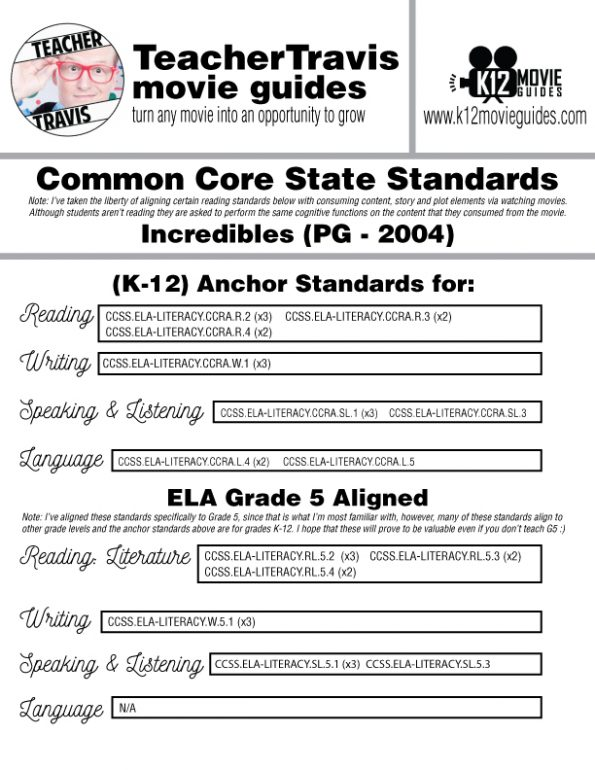 The Incredibles Movie Guide   Worksheet   Questions   Google (PG - 2004) CCSS